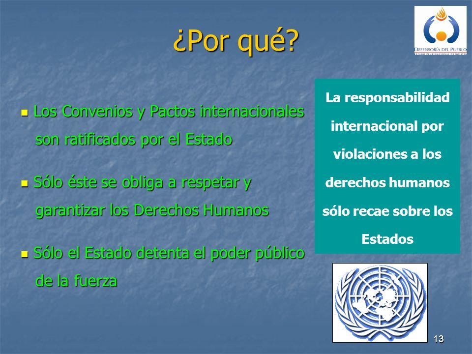 13 ¿Por qué? Los Convenios y Pactos internacionales Los Convenios y Pactos internacionales son ratificados por el Estado son ratificados por el Estado