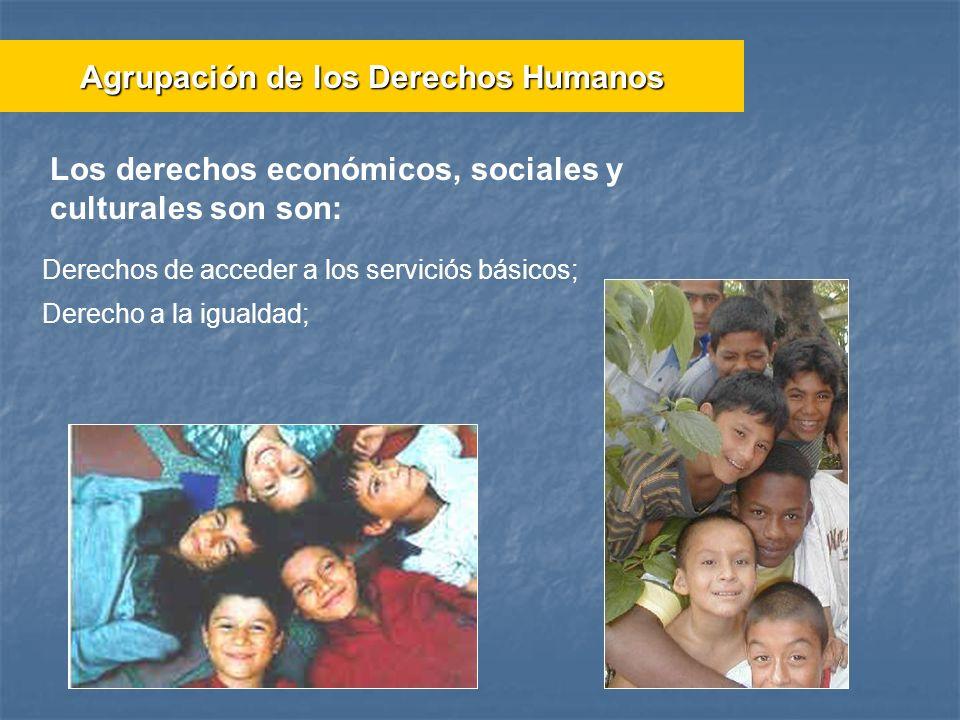 Derechos de acceder a los serviciós básicos; Derecho a la igualdad; Los derechos económicos, sociales y culturales son son: Agrupación de los Derechos