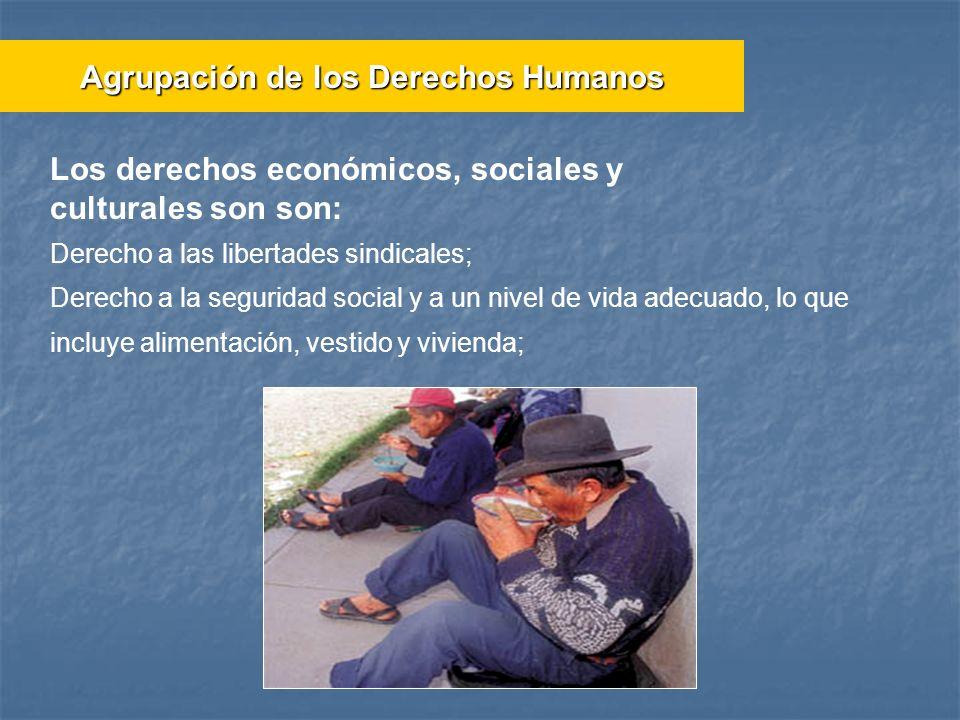 Derecho a las libertades sindicales; Derecho a la seguridad social y a un nivel de vida adecuado, lo que incluye alimentación, vestido y vivienda; Agr