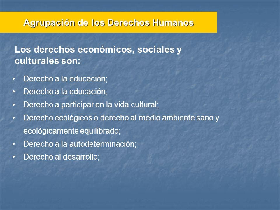 Derecho a la educación; Derecho a participar en la vida cultural; Derecho ecológicos o derecho al medio ambiente sano y ecológicamente equilibrado; De