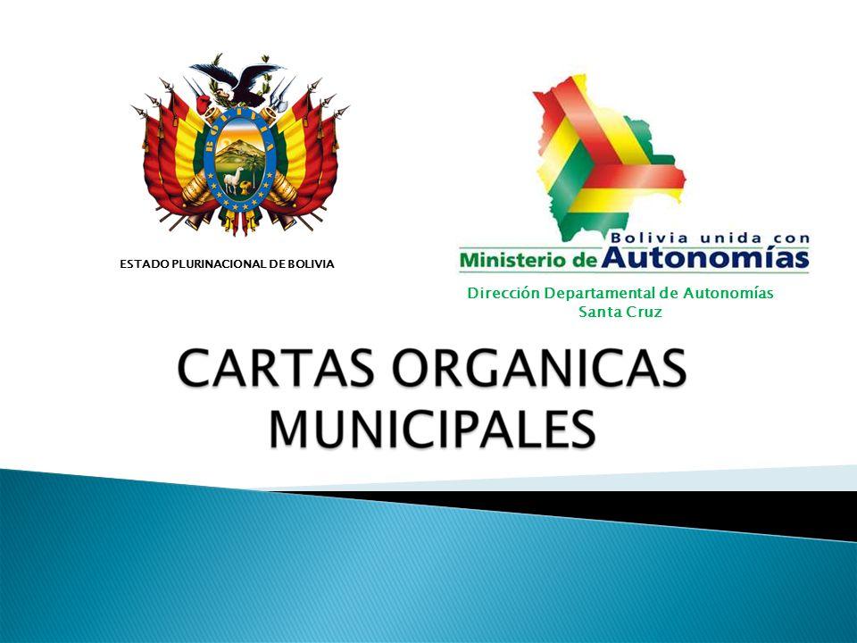 ESTADO PLURINACIONAL DE BOLIVIA Dirección Departamental de Autonomías Santa Cruz ESTADO PLURINACIONAL DE BOLIVIA