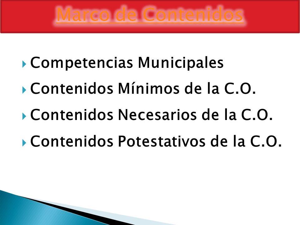 Competencias Municipales Contenidos Mínimos de la C.O. Contenidos Necesarios de la C.O. Contenidos Potestativos de la C.O.