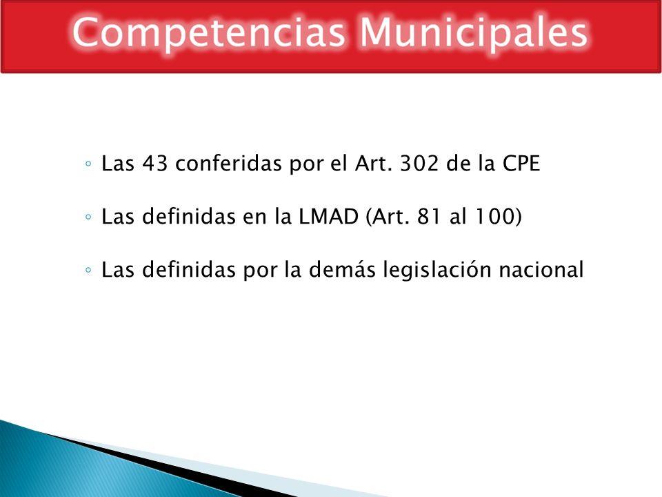 Las 43 conferidas por el Art. 302 de la CPE Las definidas en la LMAD (Art. 81 al 100) Las definidas por la demás legislación nacional