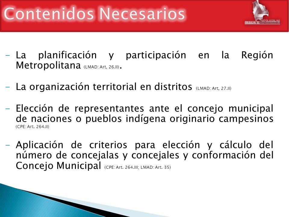 -La planificación y participación en la Región Metropolitana (LMAD: Art, 26.II). -La organización territorial en distritos (LMAD: Art, 27.II) -Elecció