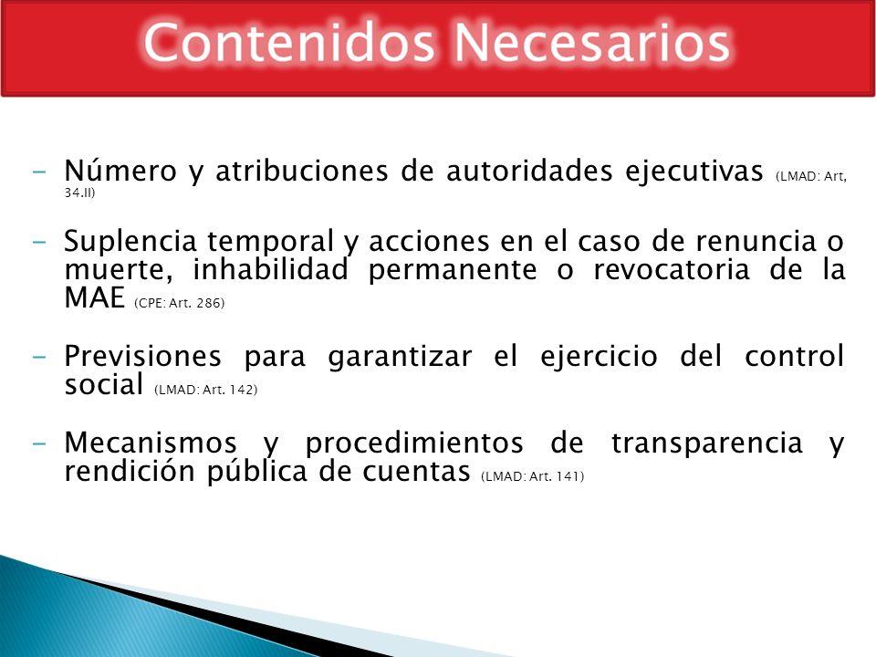 -Número y atribuciones de autoridades ejecutivas (LMAD: Art, 34.II) -Suplencia temporal y acciones en el caso de renuncia o muerte, inhabilidad perman