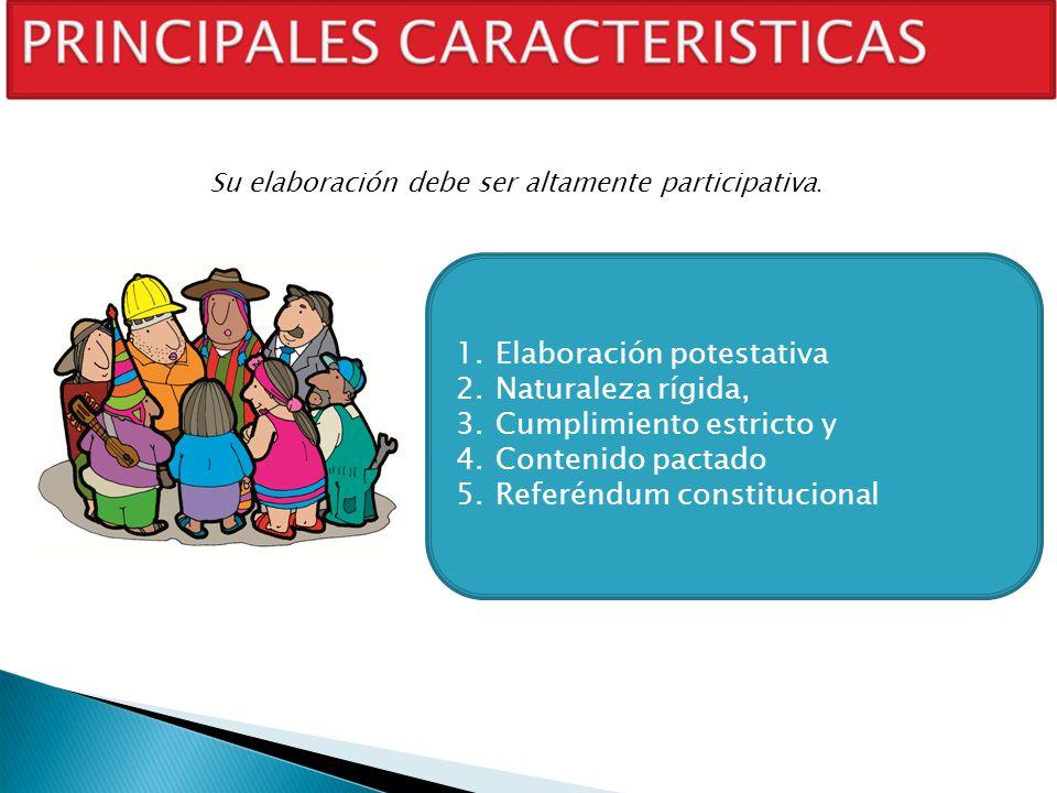 1.Elaboración potestativa 2.Naturaleza rígida, 3.Cumplimiento estricto y 4.Contenido pactado 5.Referéndum constitucional