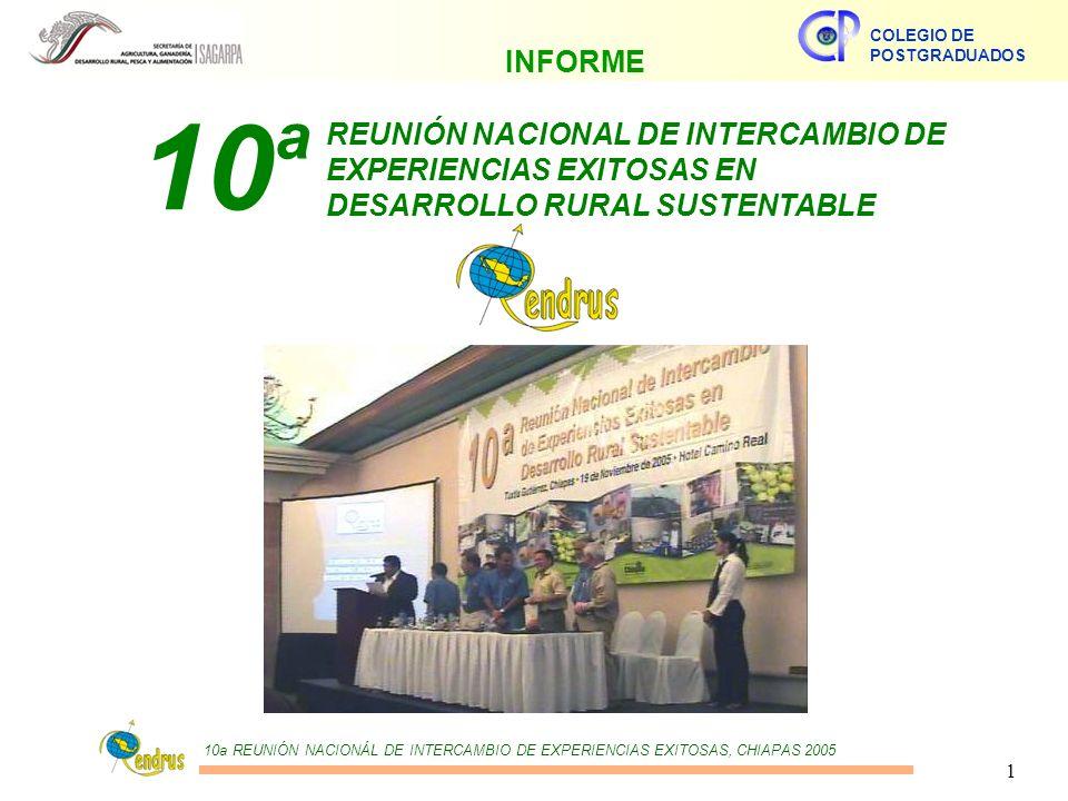 10a REUNIÓN NACIONÁL DE INTERCAMBIO DE EXPERIENCIAS EXITOSAS, CHIAPAS 2005 COLEGIO DE POSTGRADUADOS 1 REUNIÓN NACIONAL DE INTERCAMBIO DE EXPERIENCIAS EXITOSAS EN DESARROLLO RURAL SUSTENTABLE 10 a INFORME