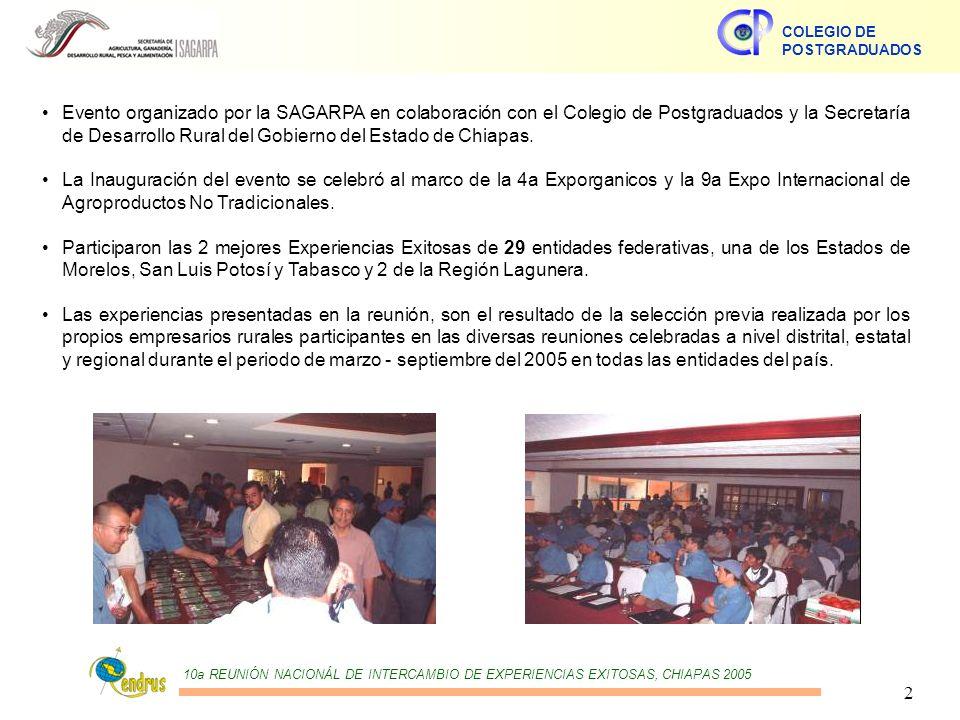10a REUNIÓN NACIONÁL DE INTERCAMBIO DE EXPERIENCIAS EXITOSAS, CHIAPAS 2005 COLEGIO DE POSTGRADUADOS 2 Evento organizado por la SAGARPA en colaboración con el Colegio de Postgraduados y la Secretaría de Desarrollo Rural del Gobierno del Estado de Chiapas.
