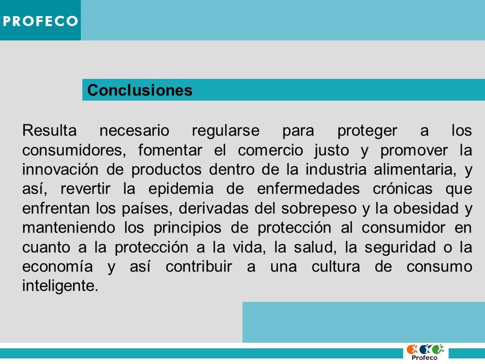Conclusiones Resulta necesario regularse para proteger a los consumidores, fomentar el comercio justo y promover la innovación de productos dentro de