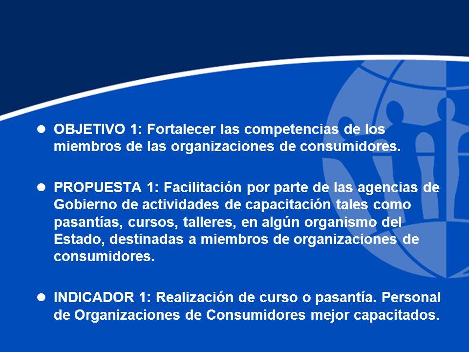 l OBJETIVO 1: Fortalecer las competencias de los miembros de las organizaciones de consumidores.