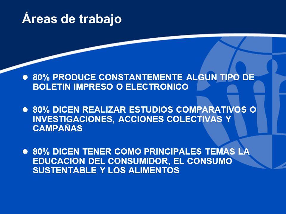 Áreas de trabajo l 80% PRODUCE CONSTANTEMENTE ALGUN TIPO DE BOLETIN IMPRESO O ELECTRONICO l 80% DICEN REALIZAR ESTUDIOS COMPARATIVOS O INVESTIGACIONES, ACCIONES COLECTIVAS Y CAMPAÑAS l 80% DICEN TENER COMO PRINCIPALES TEMAS LA EDUCACION DEL CONSUMIDOR, EL CONSUMO SUSTENTABLE Y LOS ALIMENTOS