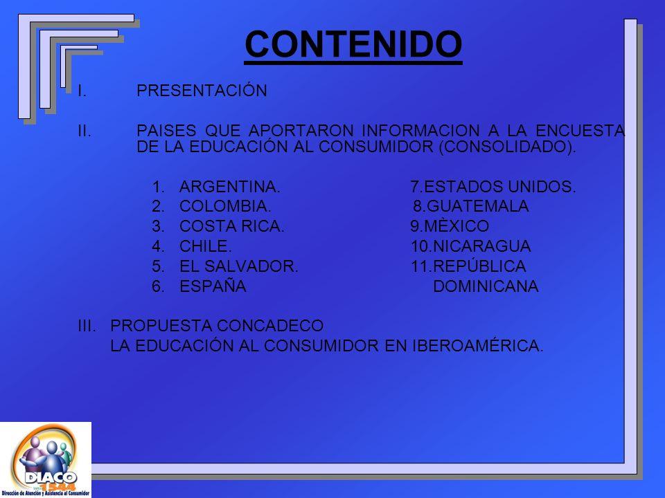 CONTENIDO I.PRESENTACIÓN II.PAISES QUE APORTARON INFORMACION A LA ENCUESTA DE LA EDUCACIÓN AL CONSUMIDOR (CONSOLIDADO). 1. ARGENTINA.7.ESTADOS UNIDOS.