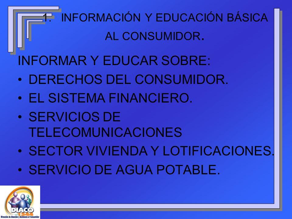 INFORMAR Y EDUCAR SOBRE: DERECHOS DEL CONSUMIDOR. EL SISTEMA FINANCIERO. SERVICIOS DE TELECOMUNICACIONES SECTOR VIVIENDA Y LOTIFICACIONES. SERVICIO DE