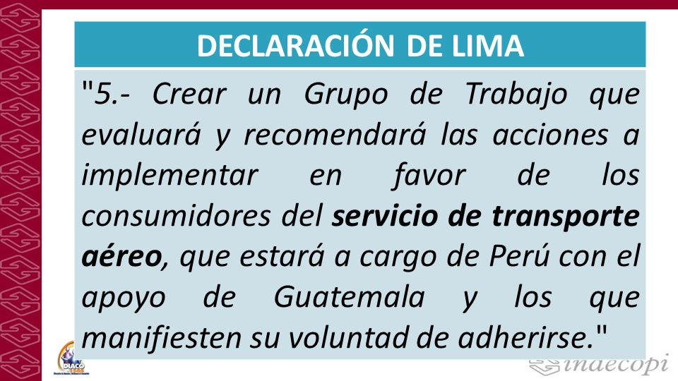 DECLARACIÓN DE LIMA 5.- Crear un Grupo de Trabajo que evaluará y recomendará las acciones a implementar en favor de los consumidores del servicio de transporte aéreo, que estará a cargo de Perú con el apoyo de Guatemala y los que manifiesten su voluntad de adherirse.