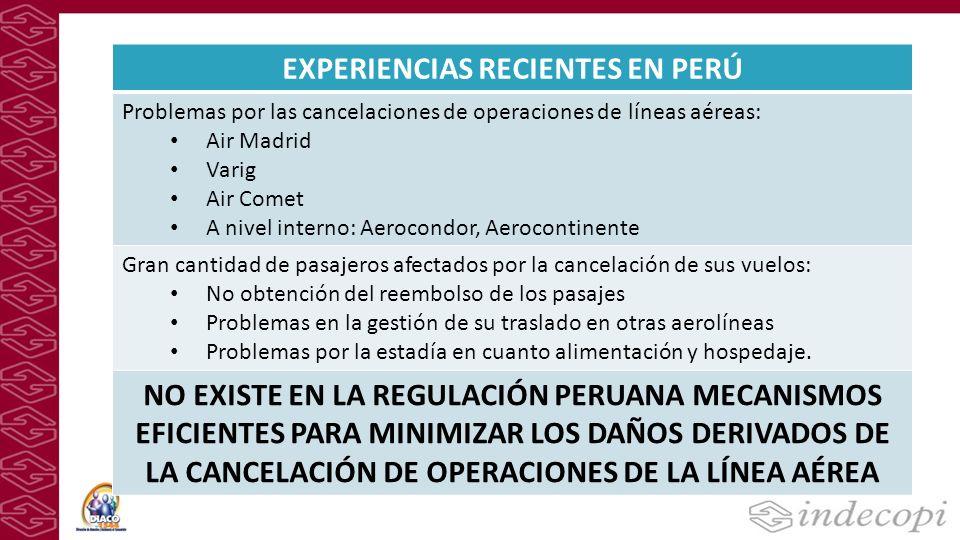EXPERIENCIAS RECIENTES EN PERÚ Problemas por las cancelaciones de operaciones de líneas aéreas: Air Madrid Varig Air Comet A nivel interno: Aerocondor