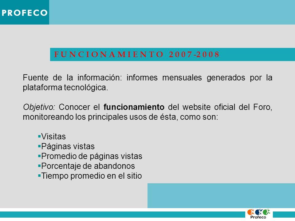 F U N C I O N A M I E N T O 2 0 0 7 -2 0 0 8 Fuente de la información: informes mensuales generados por la plataforma tecnológica. Objetivo: Conocer e