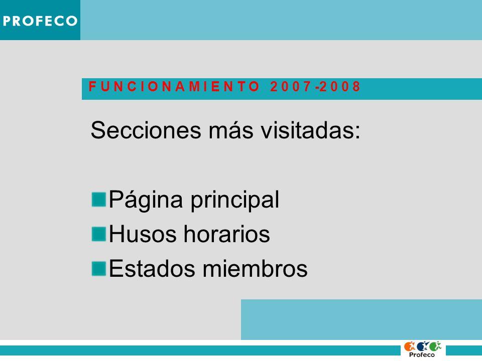 F U N C I O N A M I E N T O 2 0 0 7 -2 0 0 8 Secciones más visitadas: Página principal Husos horarios Estados miembros