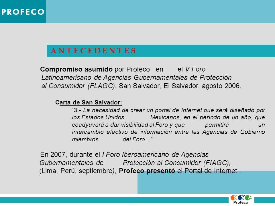 A N T E C E D E N T E S Compromiso asumido por Profeco en el V Foro Latinoamericano de Agencias Gubernamentales de Protección al Consumidor (FLAGC). S