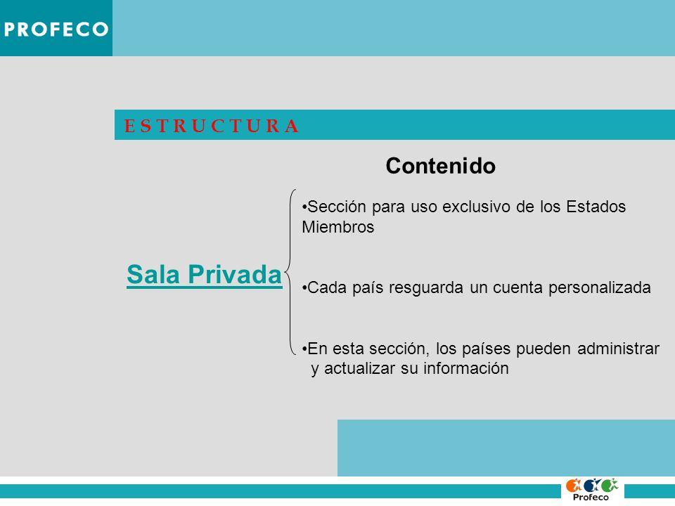 E S T R U C T U R A Sala Privada Sección para uso exclusivo de los Estados Miembros Cada país resguarda un cuenta personalizada En esta sección, los p