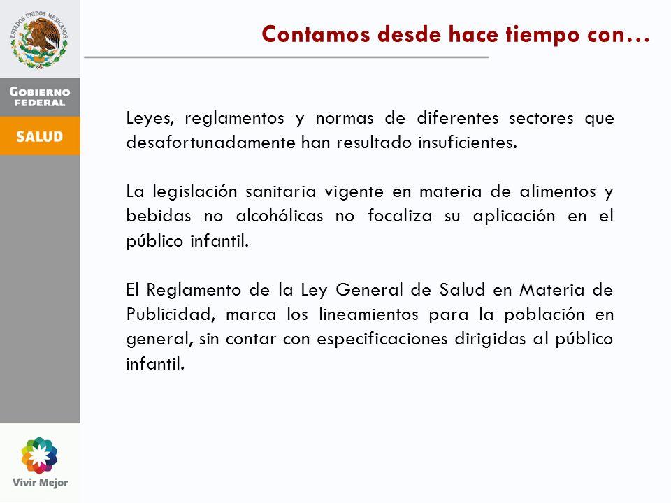 Leyes, reglamentos y normas de diferentes sectores que desafortunadamente han resultado insuficientes. La legislación sanitaria vigente en materia de