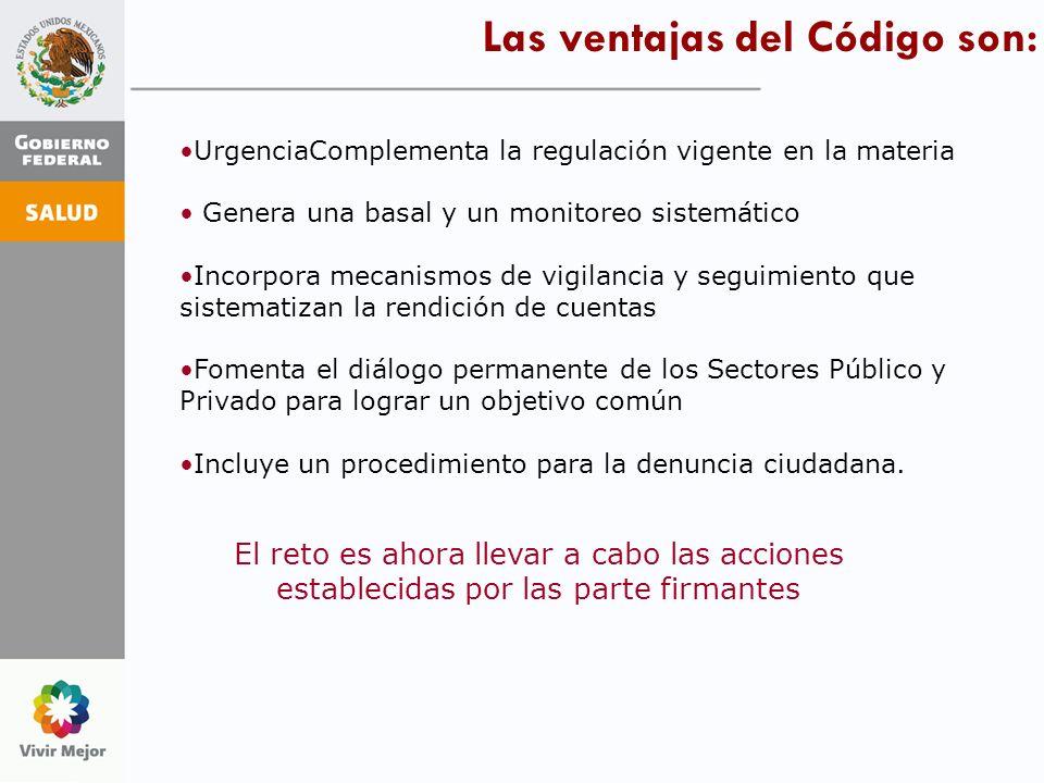 Las ventajas del Código son: UrgenciaComplementa la regulación vigente en la materia Genera una basal y un monitoreo sistemático Incorpora mecanismos