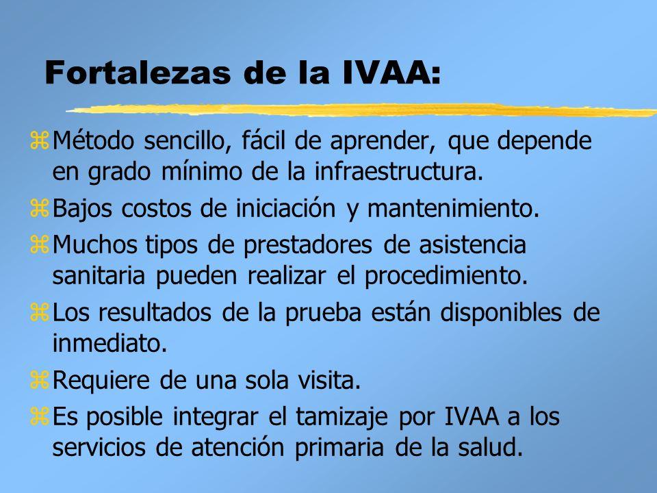 Fortalezas de la IVAA: zMétodo sencillo, fácil de aprender, que depende en grado mínimo de la infraestructura. zBajos costos de iniciación y mantenimi