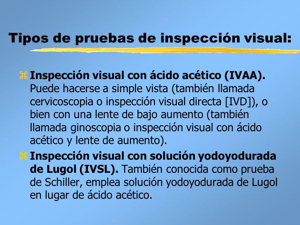 Tipos de pruebas de inspección visual: zInspección visual con ácido acético (IVAA). Puede hacerse a simple vista (también llamada cervicoscopia o insp