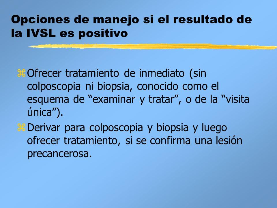 Opciones de manejo si el resultado de la IVSL es positivo zOfrecer tratamiento de inmediato (sin colposcopia ni biopsia, conocido como el esquema de e
