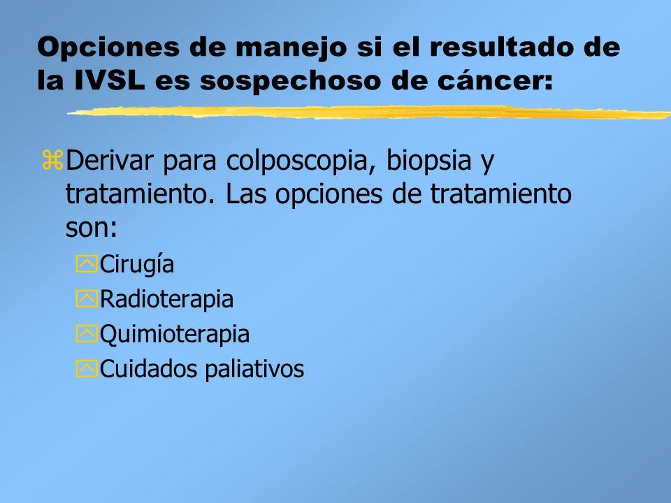Opciones de manejo si el resultado de la IVSL es sospechoso de cáncer: zDerivar para colposcopia, biopsia y tratamiento. Las opciones de tratamiento s