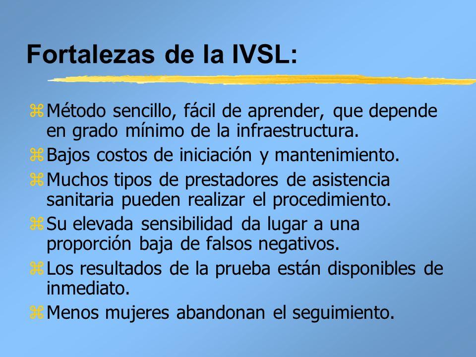 Fortalezas de la IVSL: zMétodo sencillo, fácil de aprender, que depende en grado mínimo de la infraestructura. zBajos costos de iniciación y mantenimi