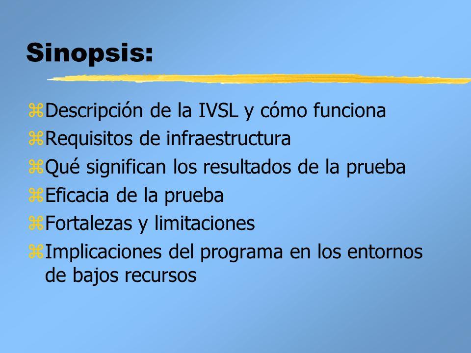 Sinopsis: zDescripción de la IVSL y cómo funciona zRequisitos de infraestructura zQué significan los resultados de la prueba zEficacia de la prueba zF