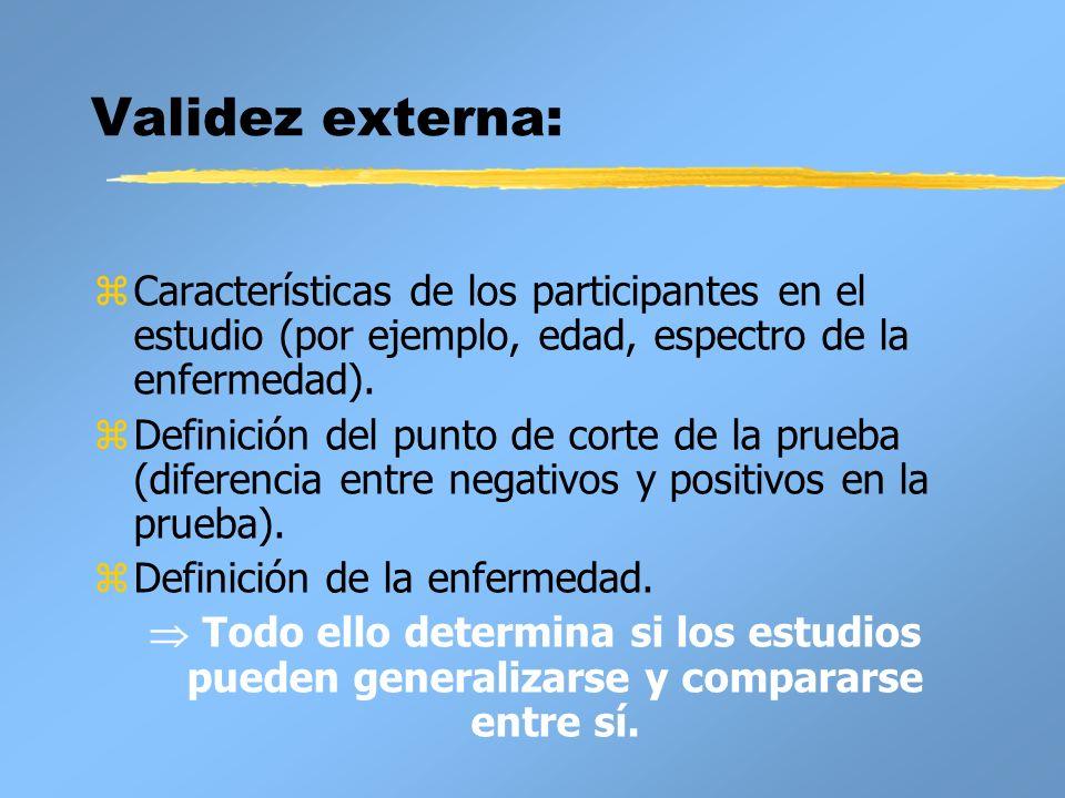 Validez externa: zCaracterísticas de los participantes en el estudio (por ejemplo, edad, espectro de la enfermedad). zDefinición del punto de corte de