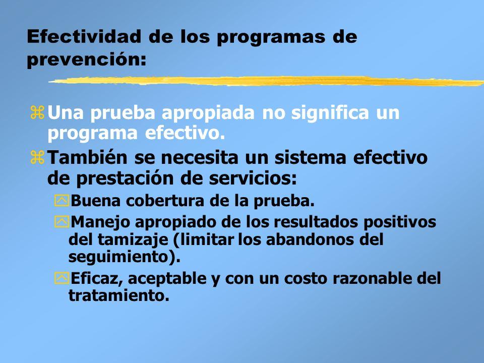 Efectividad de los programas de prevención: zUna prueba apropiada no significa un programa efectivo. zTambién se necesita un sistema efectivo de prest