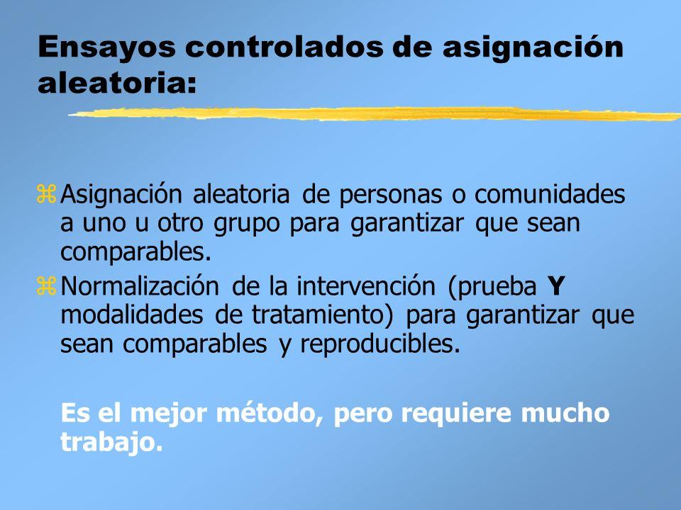 Ensayos controlados de asignación aleatoria: zAsignación aleatoria de personas o comunidades a uno u otro grupo para garantizar que sean comparables.