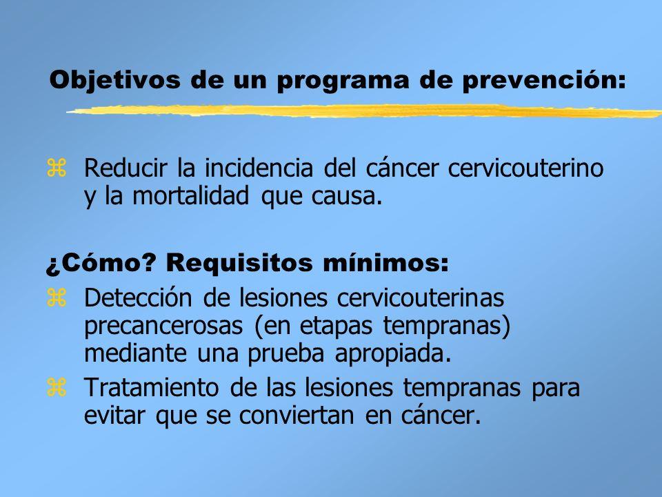 Objetivos de un programa de prevención: zReducir la incidencia del cáncer cervicouterino y la mortalidad que causa. ¿Cómo? Requisitos mínimos: zDetecc