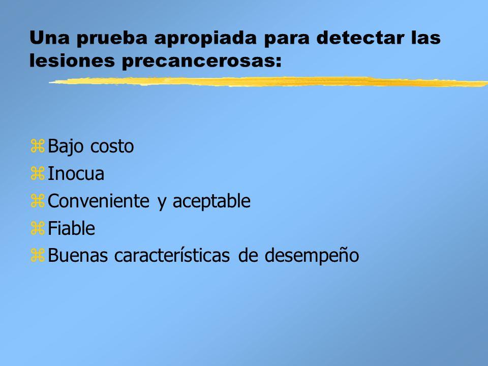 Una prueba apropiada para detectar las lesiones precancerosas: zBajo costo zInocua zConveniente y aceptable zFiable zBuenas características de desempe