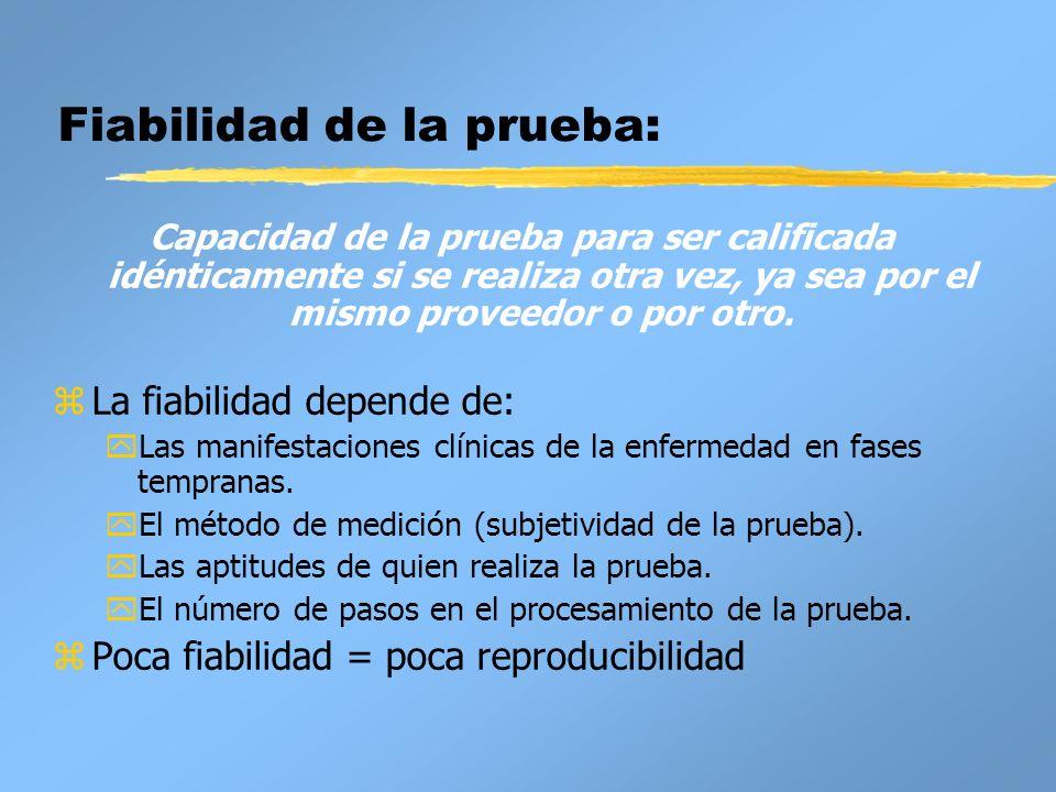 Características de la prueba: zExactitud: características inherentes de la prueba.
