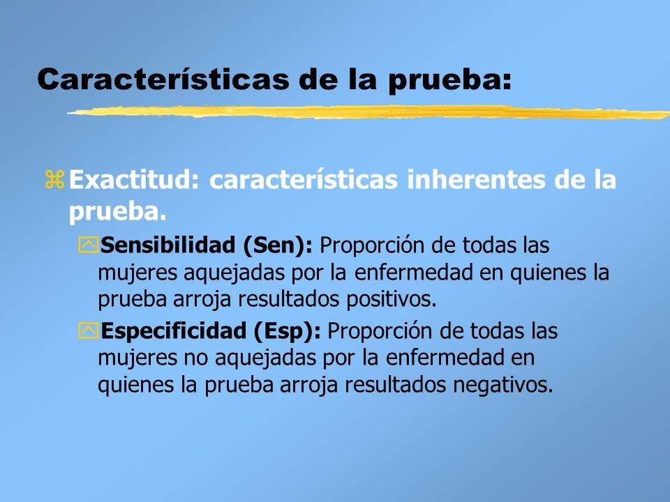 Características de la prueba: zExactitud: características inherentes de la prueba. ySensibilidad (Sen): Proporción de todas las mujeres aquejadas por