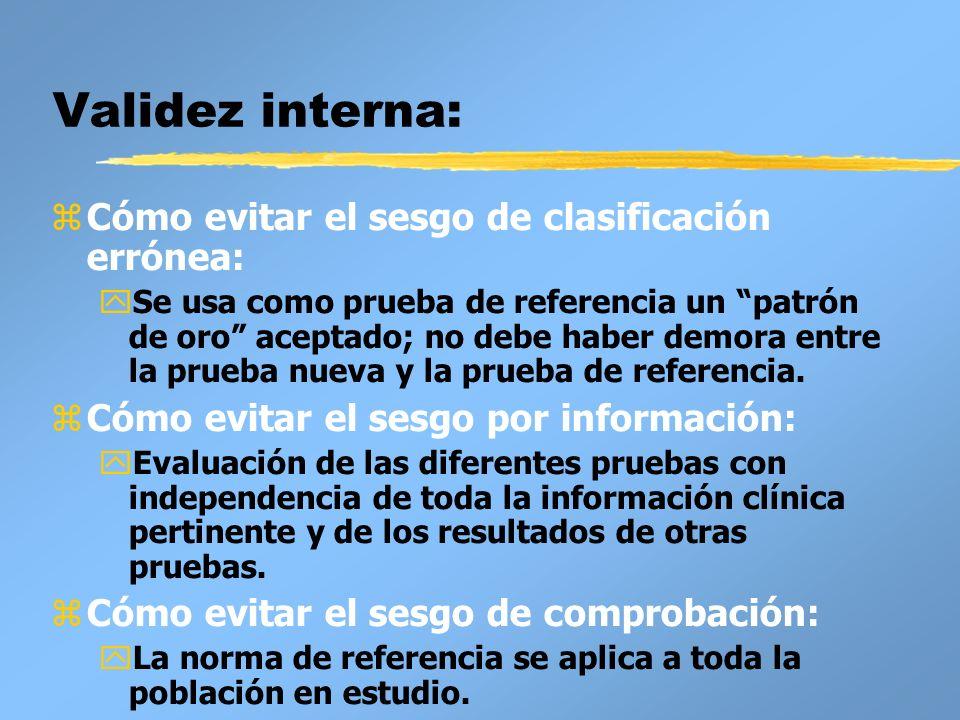 Validez externa: zCaracterísticas de los participantes en el estudio (por ejemplo, edad, espectro de la enfermedad).