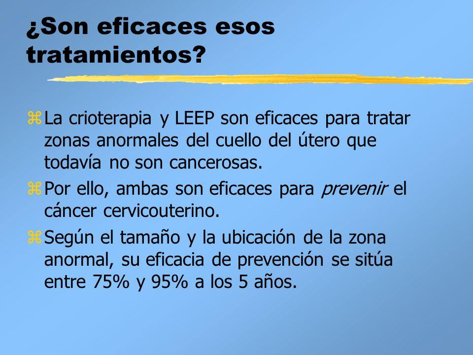 ¿Son eficaces esos tratamientos? zLa crioterapia y LEEP son eficaces para tratar zonas anormales del cuello del útero que todavía no son cancerosas. z