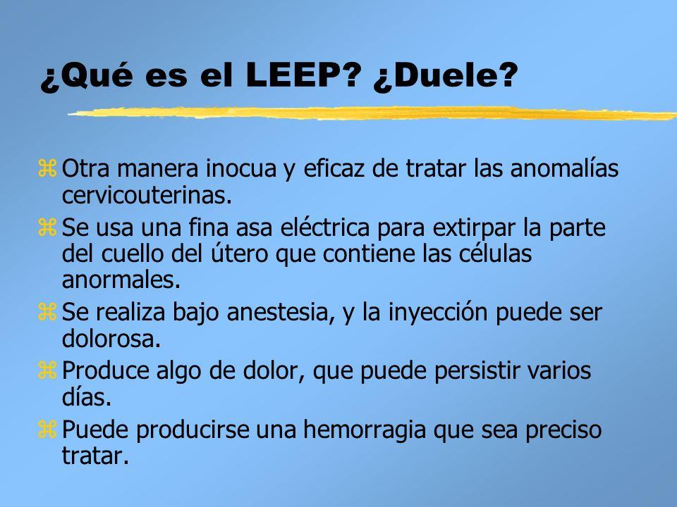 ¿Qué es el LEEP? ¿Duele? zOtra manera inocua y eficaz de tratar las anomalías cervicouterinas. zSe usa una fina asa eléctrica para extirpar la parte d