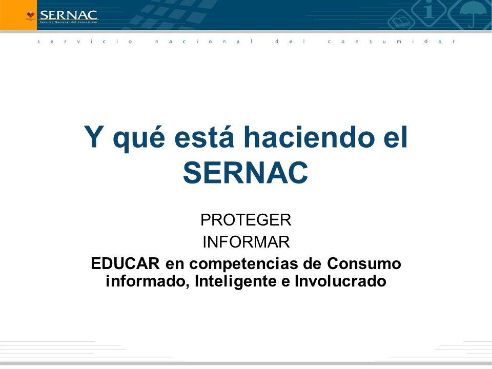 Y qué está haciendo el SERNAC PROTEGER INFORMAR EDUCAR en competencias de Consumo informado, Inteligente e Involucrado