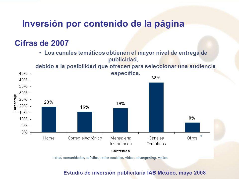 Inversión por contenido de la página Cifras de 2007 Los canales temáticos obtienen el mayor nivel de entrega de publicidad, debido a la posibilidad que ofrecen para seleccionar una audiencia específica.