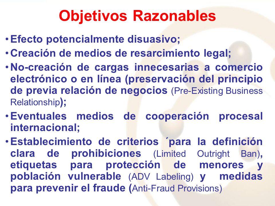 Objetivos Razonables Efecto potencialmente disuasivo; Creación de medios de resarcimiento legal; No-creación de cargas innecesarias a comercio electrónico o en línea (preservación del principio de previa relación de negocios (Pre-Existing Business Relationship ); Eventuales medios de cooperación procesal internacional; Establecimiento de criterios ´para la definición clara de prohibiciones (Limited Outright Ban), etiquetas para protección de menores y población vulnerable (ADV Labeling) y medidas para prevenir el fraude ( Anti-Fraud Provisions)