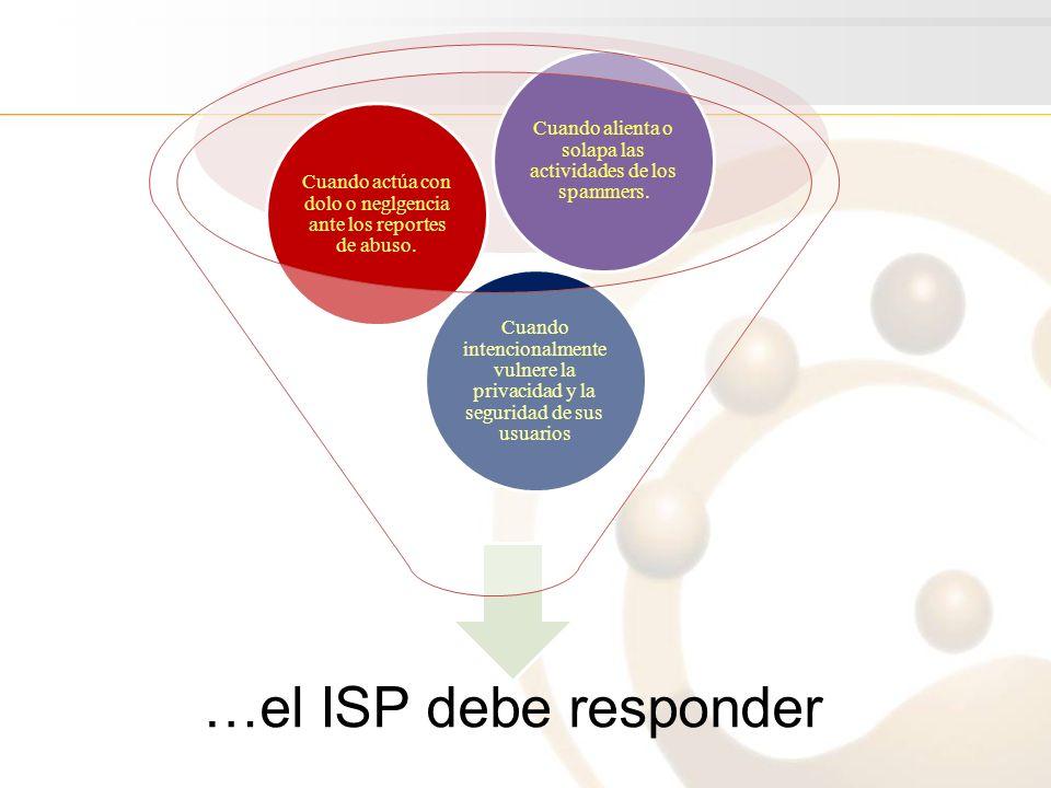 …el ISP debe responder Cuando intencionalmente vulnere la privacidad y la seguridad de sus usuarios Cuando actúa con dolo o neglgencia ante los reportes de abuso.