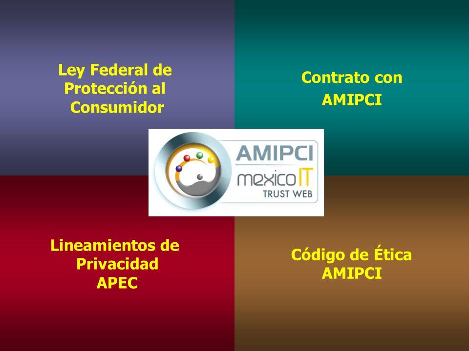 Ley Federal de Protección al Consumidor Ley Federal de Protección al Consumidor Contrato con AMIPCI Contrato con AMIPCI Lineamientos de Privacidad APEC Lineamientos de Privacidad APEC Código de Ética AMIPCI Código de Ética AMIPCI