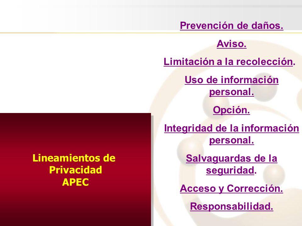 Lineamientos de Privacidad APEC Lineamientos de Privacidad APEC Prevención de daños. Aviso. Limitación a la recolección. Uso de información personal.