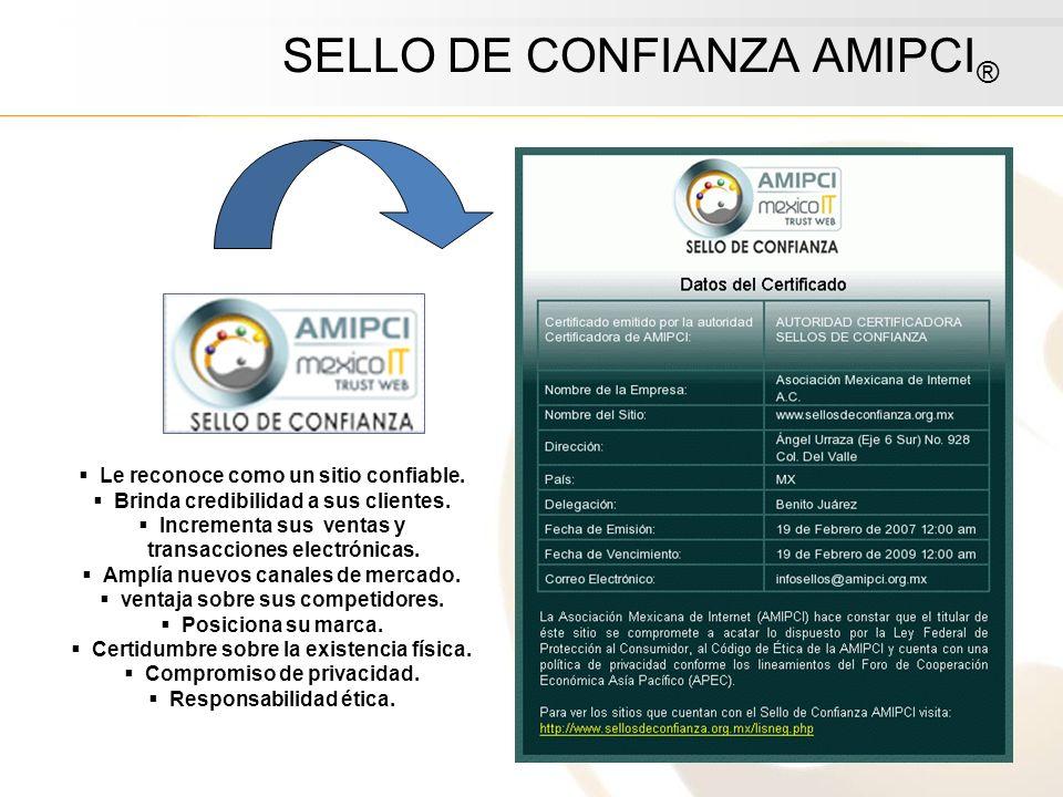 SELLO DE CONFIANZA AMIPCI ® Le reconoce como un sitio confiable. Brinda credibilidad a sus clientes. Incrementa sus ventas y transacciones electrónica