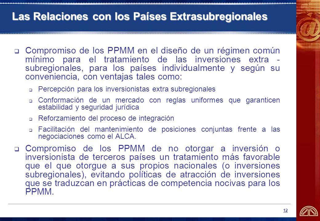 12 Compromiso de los PPMM en el diseño de un régimen común mínimo para el tratamiento de las inversiones extra - subregionales, para los países indivi