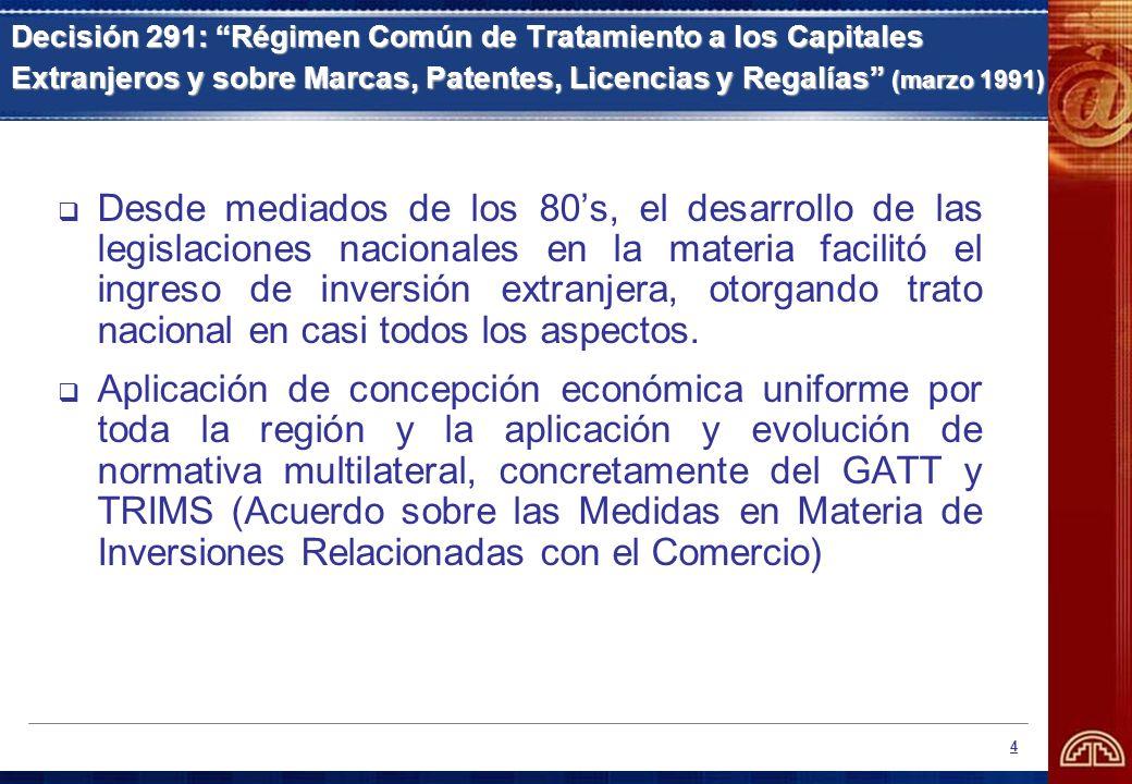 5 Decisión 292: Régimen Uniforme para Empresas Multinacionales Andinas (marzo 1991) Empresas multinacionales andinas (EMA): al menos el 60% del capital social pertenece a inversionistas de dos o más Países Miembros.